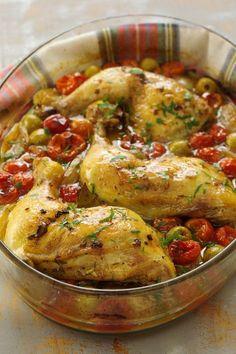 Cinco Quartos de Laranja: Pernas de frango assadas no forno com tomate cereja e azeitonas verdes