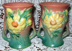 Lot #230-Two Roseville Peony Small Vases    www.mclarenauction.com