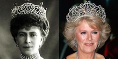 The Delhi Durbar Tiara This tiara was made for Queen Mary in 1911 and has since been altered. It was passed on to Queen Elizabeth II, who's loaned the tiara to the Duchess of Cornwall. As you can tell, it's among the biggest crowns in the family. Royal Crown Jewels, Royal Crowns, Royal Tiaras, Royal Jewelry, Tiaras And Crowns, Jewellery, Queen Mary, Queen Elizabeth, Queen Mother