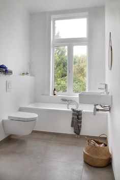 Cool and practical bathroom ideas - White Bathroom minimalist design-Scandinavian interior Bath rattan - Bathroom Toilets, Bathroom Renos, Bathroom Interior, Modern Bathroom, Small Bathroom, Bathroom Ideas, Bathroom Designs, White Bathrooms, Design Scandinavian