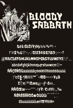 Download another cool and eclectic GAUTFONT Bloody Sabbath – 258 glyphs - 4 weights #GautFonts #BlackSabbath #RonnieJamesDio War Pigs, James Dio, Hand Drawn Lettering, Heaven And Hell, Black Sabbath, Glyphs, Weights, How To Draw Hands, Songs