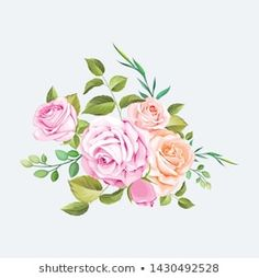 Similar Images, Stock Photos & Vectors of Watercolor drawing of a branch with leaves and flowers. Botanical illustration. Composition of pink roses, wildflowers and garden herbs Decorative bouquet isolated on white background. - 1069038293   Shutterstock