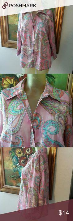 Ralph Lauren paisley pink cotton shirt sz 1X Just so nice, so elegant. No flaws. Ralph Lauren Tops Button Down Shirts