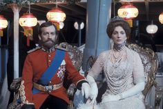 """Charles Kay and Gayle Hunnicutt in """"Fall of Eagles,"""" (1975). Costume design by Robin Fraser-Paye and Daphne Dare."""