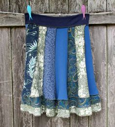 Upcycled Skirt Handmade Patchwork  Recycled Tshirts Earth Forest Lake Moss Eco Blue Green Recycled Clothing
