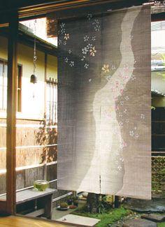 100% Linen Japanese Noren Curtain - Hand Painted - Romance of Sakura Dreamy Night