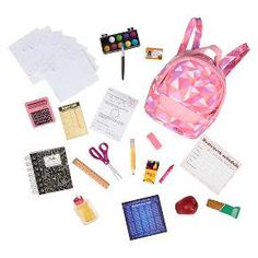 american girl doll accessories Our Generation School Accessory Set American Girl Doll Sets, American Girl Crafts, American Girls, American Girl House, American Girl Stuff, American Girl Storage, Barbie Doll Accessories, School Accessories, Accessories Online