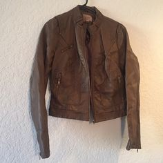 """Brown """"Leather"""" Zip-Up Jacket I absolutely love this jacket. It is size L, but I listed it as a M since it runs small. It zips up and is lightweight enough to wear in the fall or layer up in the winter. Jackets & Coats"""