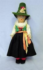 """14"""" Antique LENCI Felt Doll c1940 Lucia Face TYROLEAN GIRL Square Red-print tag"""