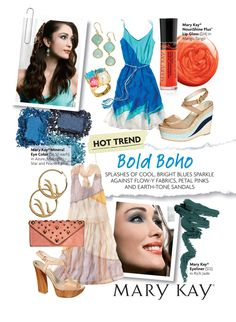 Bold Boho: Splashes of cool, bright blues sparkle against flow-y fabrics, petal pinks and earth-tone sandals.