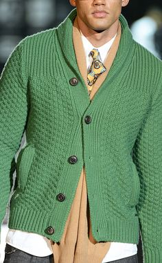 DSquared2 | Milan Men's Fashion Week | Green Cardigan | Menswear | Men's Outfit for Fall/Winter | Moda Masculina | Shop at designerclothingfans.com