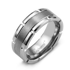 Caperci 8MM Flat Tungsten Carbide Mens Wedding Band Ring Size with Brush Center  Groove Design Size 105 *** For more information, visit image link.