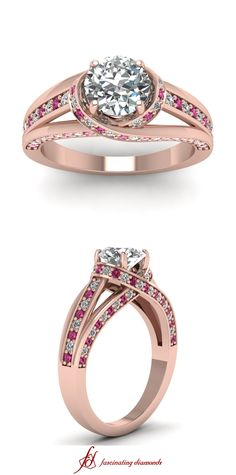 Cross Halo Ring     Round Cut Diamond Halo Ring With Pink Sapphire In 14K Rose Gold
