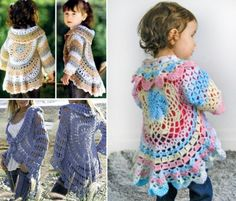 Crochet Lace Crochet Adult and Child Cardigan Shrug Free Crochet Patterns - We have put together a collection of Crochet Circular Jacket Pattern Free Ideas that you are going to love. This is one of our most popular posts, check them out now. Diy Crochet Cardigan, Crochet Hooded Cowl, Crochet Cocoon, Crochet Shawl, Knit Crochet, Crochet Sweaters, Poncho Sweater, Moda Crochet, Crochet Girls