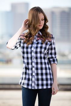 Plaid and Tribal Print Button Up