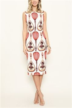 Mandolin Midi Dress www.larlena.com http://www.larlena.com/Mandolin_Print_Midi_Dress_p/ld6684.htm #mididresses #dresses