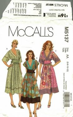 McCall's M5137 Pattern uncut 6 8 10 12 Pullover Dress Contrast Bands Boho