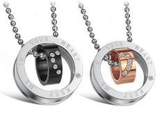 KEEP ME IN YOUR HEART: His & Hers Matching Set Titanium Couple Pendant Necklace Korean Love Style in a Gift Box (Hers): Jewelry