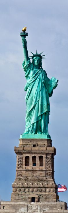 """The Statue of Liberty in New York City's Hudson River - """"Give Me Your Poor, Your Tired, Your Huddled Masses Yearning to Breathe Free"""" - Long, Tall, Vertical Pins."""