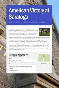Help spread the word about American Victory at Saratoga. Please share! :)