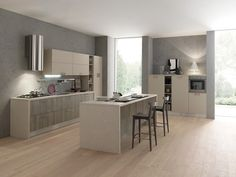 Linear kitchen with island with handles Sky by FEBAL | design Dario Poles
