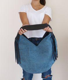 Striped fabric handbag blue large fringe hobo bag