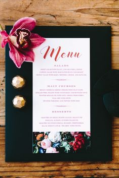 So in love with this black floral design for our menu by Atelier Invitations. Wedding Menu, Wedding Planner, Destination Wedding, Rehearsal Dinner Inspiration, Wedding Inspiration, Romantic Dinners, Romantic Couples, Floral Printables, Greece Wedding