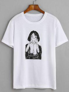 Camiseta chica gato - blanco-Spanish SheIn(Sheinside)
