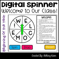 Beginning of the Year Digital Spinner by Hillary Kiser - Hillary's Teaching Adventures First Week Of School Ideas, Beginning Of The School Year, New School Year, School Classroom, Music Classroom, Classroom Ideas, Letter To Parents, Parent Letters, First Day Of School Activities