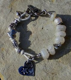 SPECIAL PRICE Res for GT-Artisan Jewelry Pearl Chalcedony Freshwater Pearl Leather Slider Bracelet Handcrafted