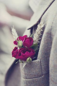 wheat red wedding buttonhole, image by Esme Ducker Photography http://esmeduckerphotography.com/