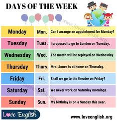 Days of the Week! A week is a time unit equal to seven days. When learning the days of the week, it is important to figure out what are weekdays, what are the Days Of Week, Months In A Year, English Writing Practice, Learning English, Trinity Exam, The Quiz Show, Time Unit, Learn English For Free, Chemistry Labs
