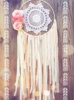 Coral & Cream Lace Floral Crochet Doily Boho Shabby Chic Gypsy Dreamcatcher // Baby Nursery Decor // Wedding Decor