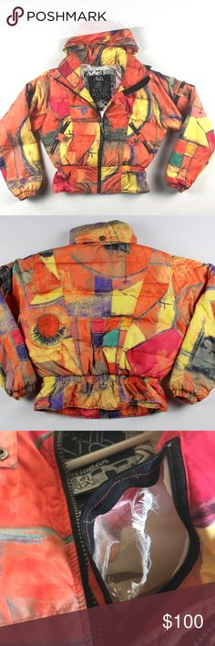 Vintage 80s Nils Skiwear Abstract Puffer Jacket 6 Vintage 80s Nils Skiwear Abstract Winter Puffer Jacket  Excellent jacket  Comes from a smoke-free household, hole on the inner lining pocket. Doesn't affect anything.  Multi-colored  The size is 6 and the measurements are 23 inches underarm to underarm and 22 inches shoulder to base  Check out my other items in my store Vogue Squared!  G82 NILS Jackets & Coats Puffers