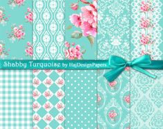 """Shabby chic digital paper : """"Shabby Turquoise"""" teal digital paper with pink roses, lace, damask, gingham patterns, floral digital paper Digital Scrapbook Paper, Digital Papers, Shabby Chic Paper, Digital Invitations, Printable Paper, Tiffany Blue, Vintage Paper, Pattern Paper, Flower Art"""