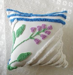 Chenille Pillow, Vintage Chenille, Accent Pillow, Cotton Pillow, Nursery Pillow, Throw Pillow, Decorative Pillow, Chic Pillow, Pillow #A9 by KMelvilleDesigns on Etsy