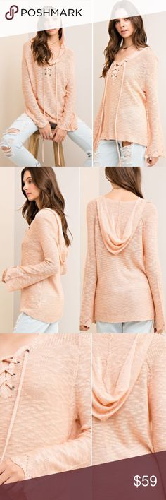 S-L Peach lace up knit hoodie top Solid knit hoodie top with front lace up detail, long sleeve, lightweight, knit and semi sheer. Color is peach. Comes in original packaging. SO pretty!!! I'm obsessed!!! S-L runs true to size/relaxed fit color is peach. No trades no offers Sweaters