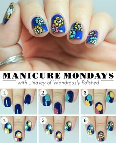 Fall floral nail tutorial @ lulus.com