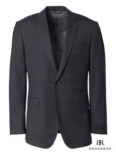 Banana Republic Mens Standard Monogram Navy Windowpane Wool Suit Jacket