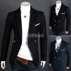 Men\'s Casual Slim fit Double Button Suit Blazer Coat Jackets
