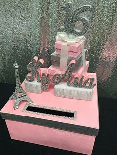 Paris theme sweet 16 card box gorgeous eiffel by thepartyplaceli Paris Sweet 16, Sweet 15, Pink Sweet 16, Sweet 16 Themes, Sweet 16 Decorations, Paris Party Decorations, Decoration Party, Sweet 16 Birthday, 15th Birthday