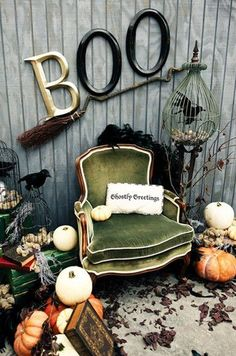 Creepy bird cage,, lots of pumpkins Halloween Decorations