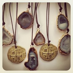 LIZ LEGG JEWELRY.  Geode and coin necklaces.  Liz@lizlegg.com #druzy #geode #coin