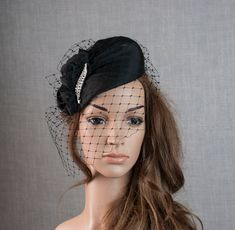 Black silk percher hat. Black funeral hat. Black cocktail hat. Black Fascinator, Face Veil, Face Lines, Wedding Fascinators, Cocktail Hat, Fabric Samples, Black Silk, Silk Fabric, Funeral