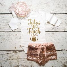 Baby Girl Clothes Tutus & Touchdowns Shirt por ShopVivaLaGlitter