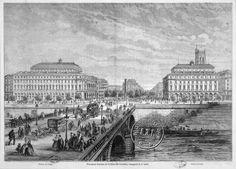 La nouvelle Place du Châtelet en 1862; à gauche, le Théâtre Impérial du Châtelet, à droite, le Théâtre Lyrique.