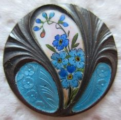 Breathtaking Antique Basse Taille ENAMEL on Sterling BUTTON w/ Painted Flowers