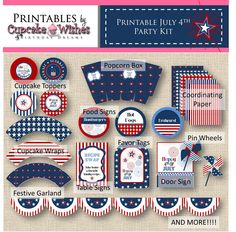 50% Off Sale - July 4th - Independence Day - Super Deluxe Fireworks Celebration printable party kit. $5.00, via Etsy.