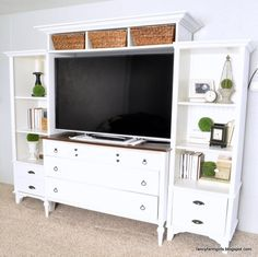 Turn an old dresser and bookshelves into a media center: The Fancy Farmgirls tell us how ANYONE can do this! Save yourself hundreds of dollars but following these DIY steps. Match all of the hardware using Rust-Oleums Metallic Universal Spray Paints http://www.rustoleum.com/product-catalog/consumer-brands/universal/universal-metallic-spray-paint and finish your center tops with Varathane Wood Stain!