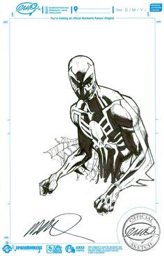 Spider-Man+2099+by+Humberto+Ramos+(6.75x10.5) Spiderman Drawing, Spiderman Art, Amazing Spiderman, Humberto Ramos, Marvel Wall Art, Comic Book Artists, Comic Artist, Comic Books Art, Spiderman Pictures
